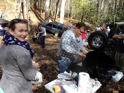 Mid Carolina Jeepers 2014 Hot Springs Trip in Nov - Breakfast on the trail - A.JPG